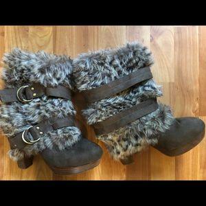 Naughty Monkey faux fur heeled boots Sz 10